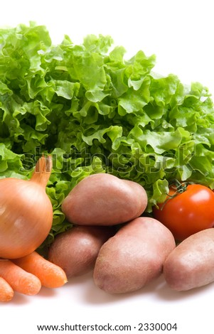 Various fresh vegetables on a white background