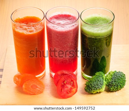 various Freshly Vegetable Juices - stock photo