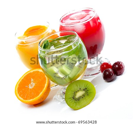 various fruit juice and tea