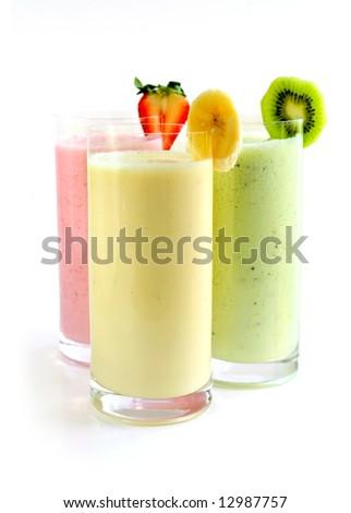Various fruit smoothies isolated on white background - stock photo