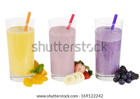 Various fruit smoothies isolated on white background.