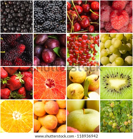 Various fruits and berries backgrounds collage from sixteen photos - stock photo