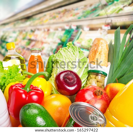 Various fruits and vegetables. Food set. Close-up photo. - stock photo