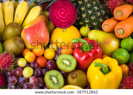 Various Fruits and vegetables for healthy diet - stock photo