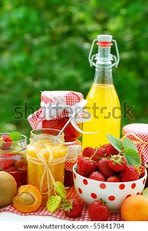 various fruits preserves in jars and fresh fruits on garden table - stock photo