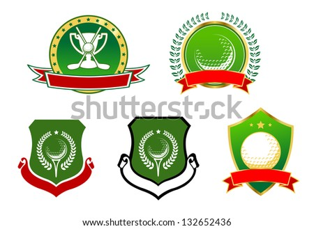 Various golfing sports icons with blank banners for your text or team, vector illustration isolated on white. Vector version also available in gallery