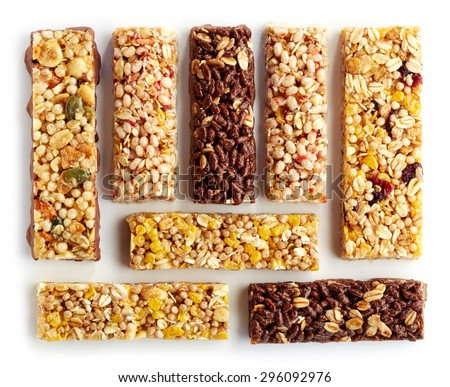 Various granola bars isolated on white background - stock photo