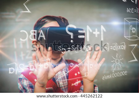 Various graphs and connectivity points against boy using a virtual reality device - stock photo