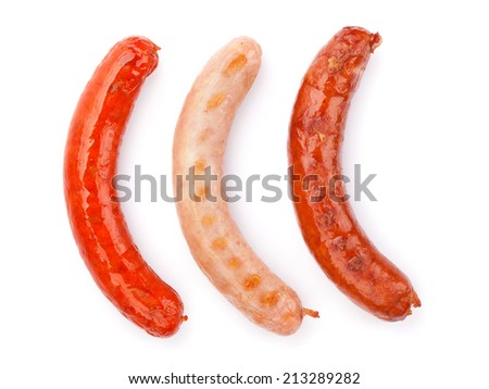Various grilled sausages. Isolated on white background - stock photo