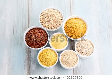 various groats in bowl - food and drink - stock photo
