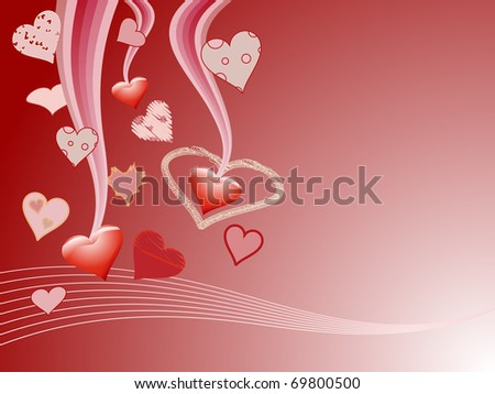 Various hearts around and copy space for your text - stock photo