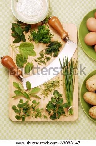 various herbs on a wooden cutting board - stock photo