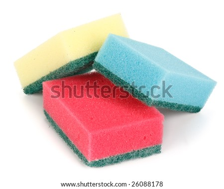 Various household sponges on a white background. Close up.