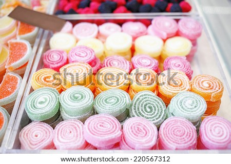 Various jelly candies in candy shop. Candy shop - stock photo