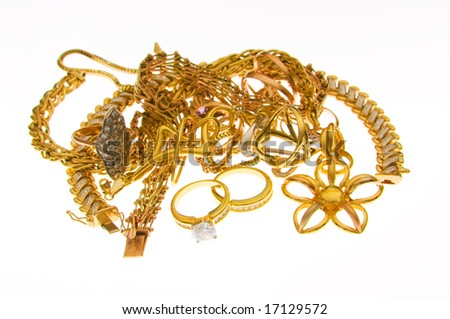 Various jewellery isolated on the white background - stock photo