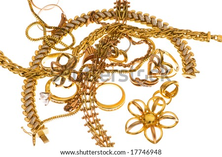 Various jewellery isolated on the white background
