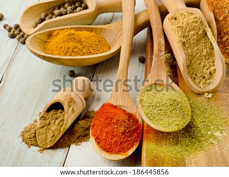 Various kind of  Spices on wooden spoons. Selective focus