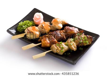 various kind of yakitori, japanese grilled chiken - stock photo