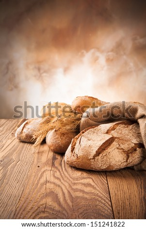 various kinds of bread on wood