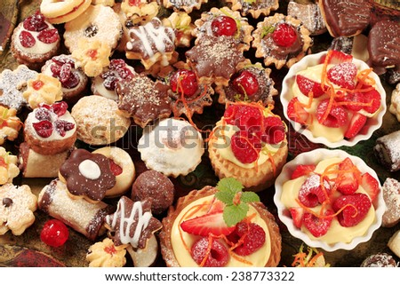 Various kinds of cookies and tarts - stock photo