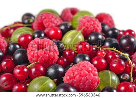Various kinds of fresh berries close up on a white background