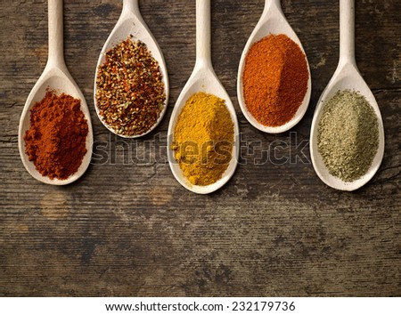 various kinds of spices in wooden spoons - stock photo