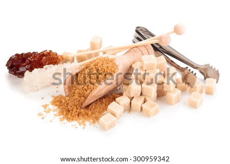 Various kinds of sugar. Isolated on white background. - stock photo