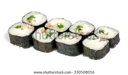 Various kinds of sushi and sashimi on white background