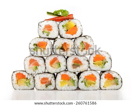 Various kinds of sushi food served on white background - stock photo