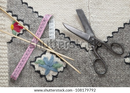 Various knitting accessories - stock photo