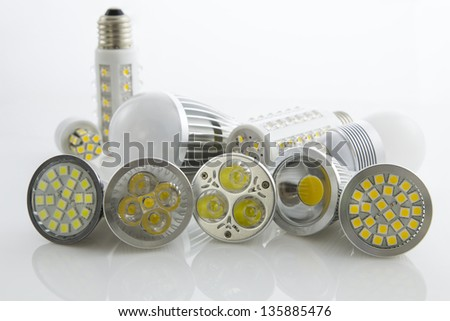 various LEDs bulb GU10 and E27 with different cooling SMD chips - stock photo