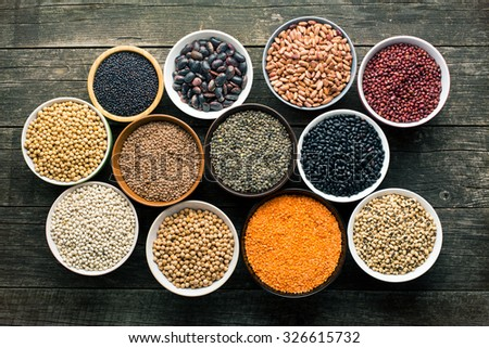 various legumes in different bowls