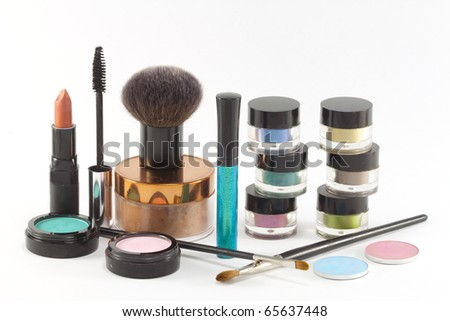 Various make-up cosmetics. - stock photo