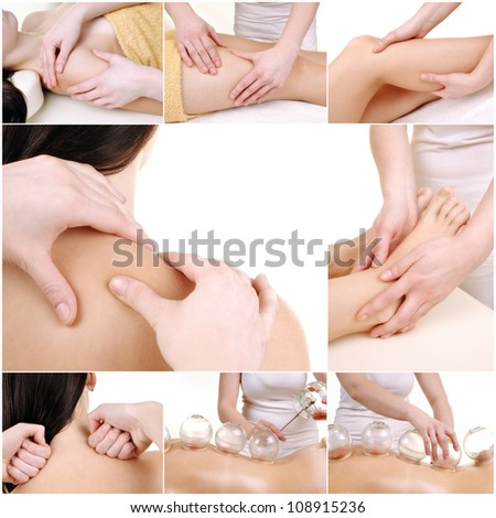 Various massage female body parts - collection 8 images - stock photo