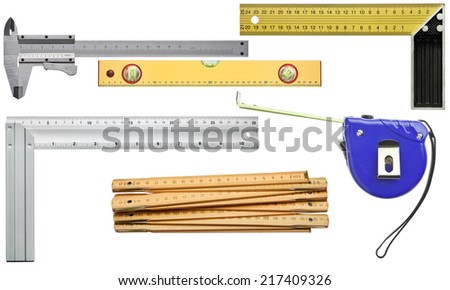 Various measuring tools. Including angle, level, ruler,caliper. - stock photo