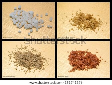 Various mixture of salt: flakes of smoked salt; red salt; pearls of salt djibouti; fleur de sel chardonnay - stock photo