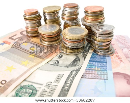 Various money currencies over white background, useful for  financial and economy themes - stock photo