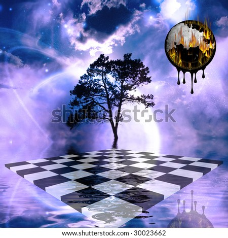Various mystical elements combine in surreal image - stock photo