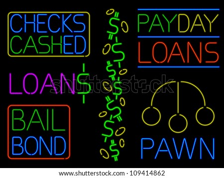 Various neon cash signs - raster - stock photo