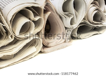 Various newspapers over white background - stock photo