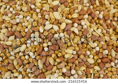 Various nut in the turkish market -mixed nut background  - stock photo