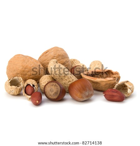 Various nuts mix isolated on white background - stock photo