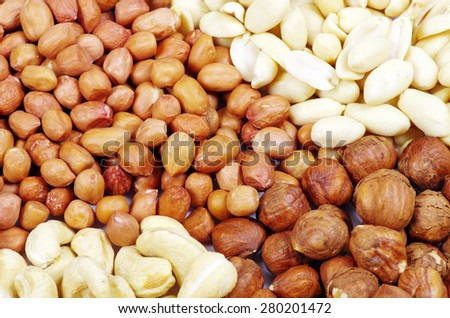 various nuts on a background - stock photo