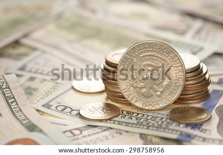 Various of coins and banknotes closeup