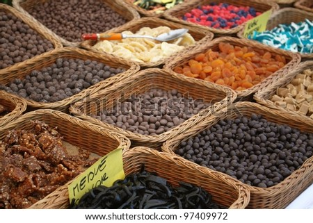 Various of food like nuts and sweets of peanuts, hazelnuts, chestnuts, walnuts and pistachio