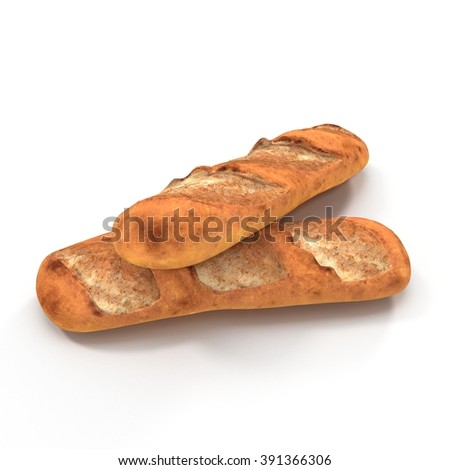 Various of french baguettes isolated on white