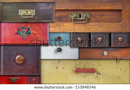 various old drawers - in utter secrecy - stock photo