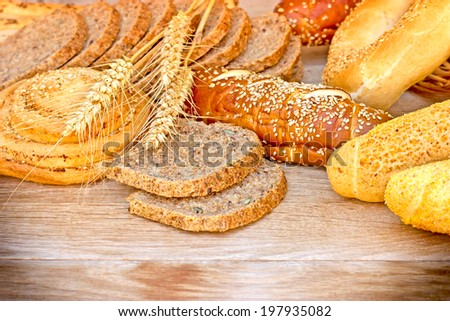 Various pastries and breads - stock photo
