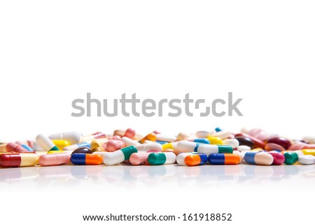 Various pharmaceuticals. All on white background. - stock photo