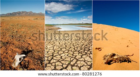 Various photos of drought in Australia - stock photo